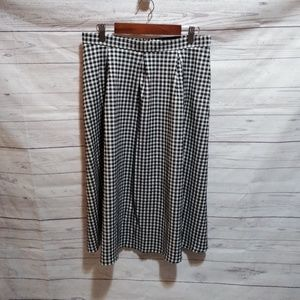 Topshop black white midi skirt check plaid